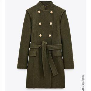Zara Double Breasted Wool Blend Coat